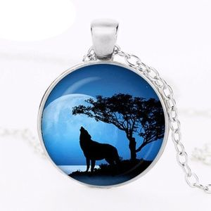 Howling Wolf Glass Dome Pendant Necklace (#2)